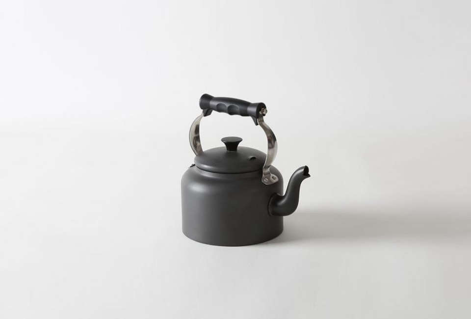 the aga hard anodized kettle is made in the uk; £\1\13 (\$\14\1) at aga cooksh 13