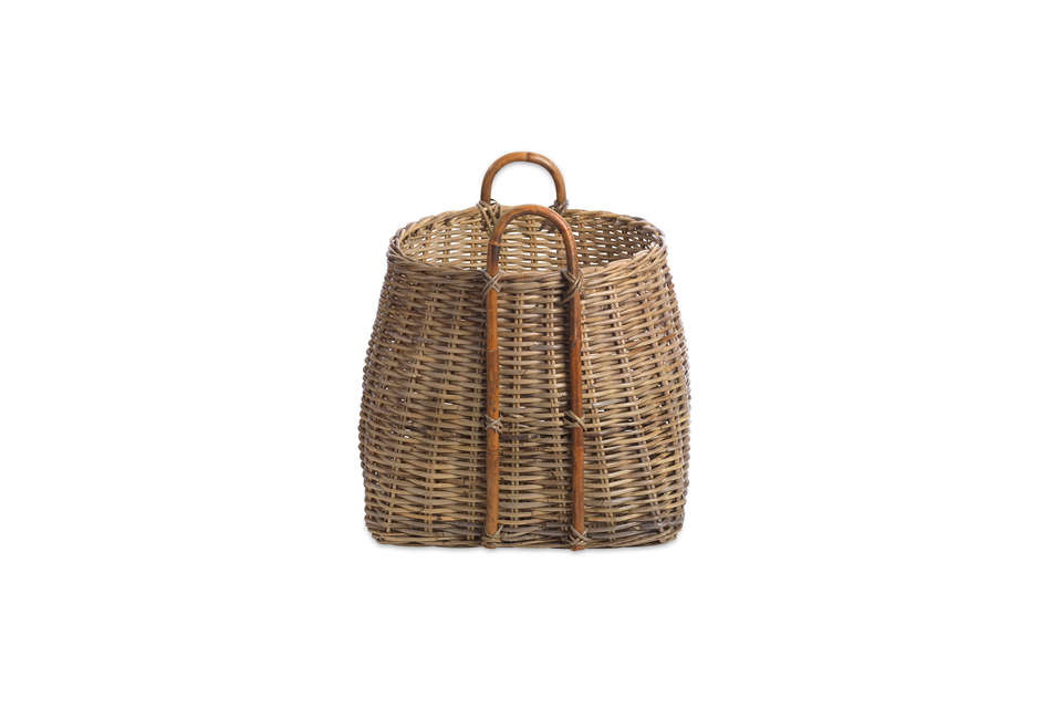 Steal This Look A Rustic Farmhouse Living Room in Upstate New York Amara Rattan Square Basket