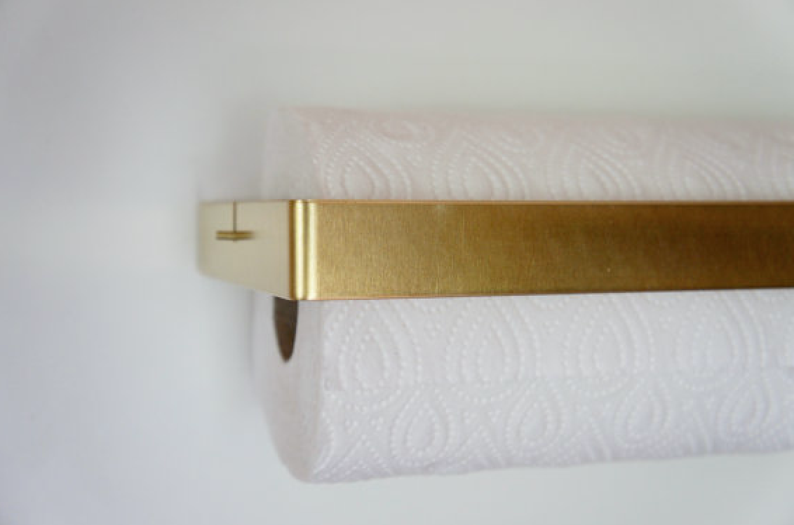 Brass Paper Towel Holder by Etsy Seller Calvill, Side View