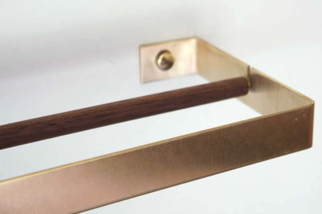 Brass Paper Towel Holder by Etsy Seller Calvill, Detail View of Rod