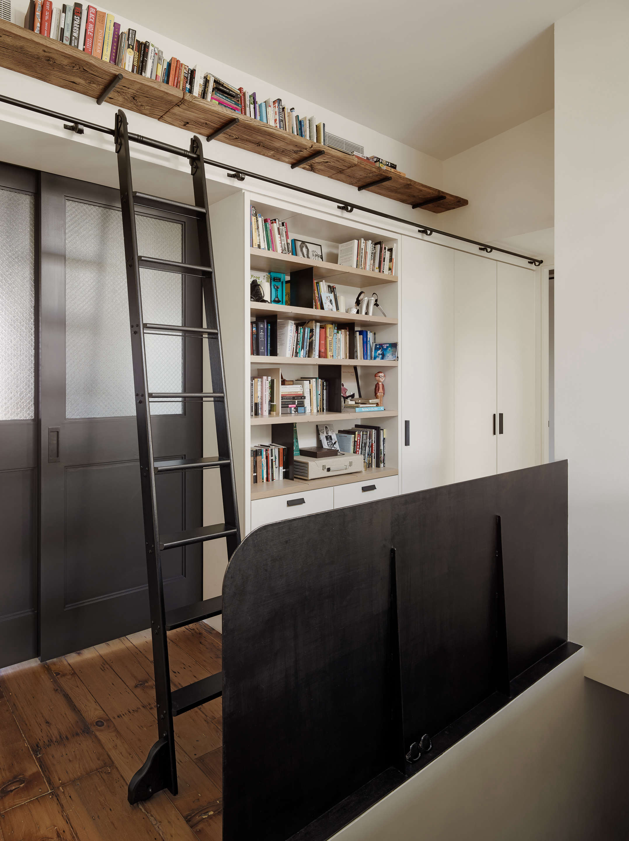 custom library ladder with rail and open shelving general assembly
