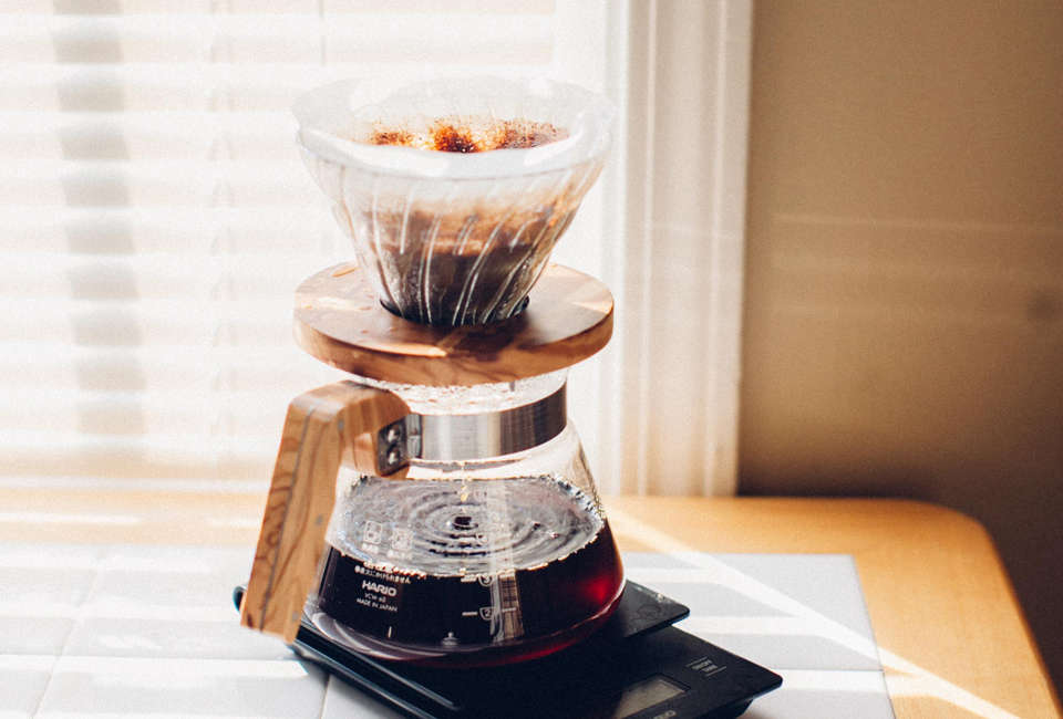 hario glass with olivewood coffee dripper 13