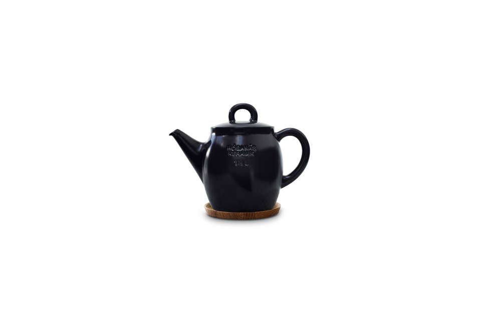 Hoganas Black Teapot with a Wood Lid