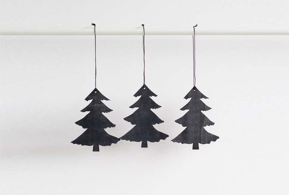 house doctor pine tree ornament in black 16