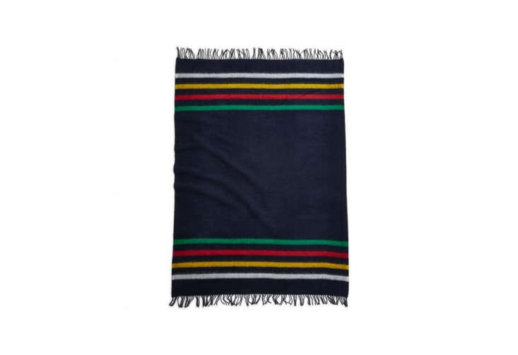 Object Lessons The Hudsons Bay Point Blanket Hudson&#8\2\17;s Bay Company continue to sell a large range of the traditional blankets in a variety of colors and styles. A fringedCaribouThrow, 4\2 inches by 70 inches, is available in navy for \$\137 at Hank&#8\2\17;s Clothing. (Note that Hudson&#8\2\17;s Bay Company does not currently ship outside of Canada.)
