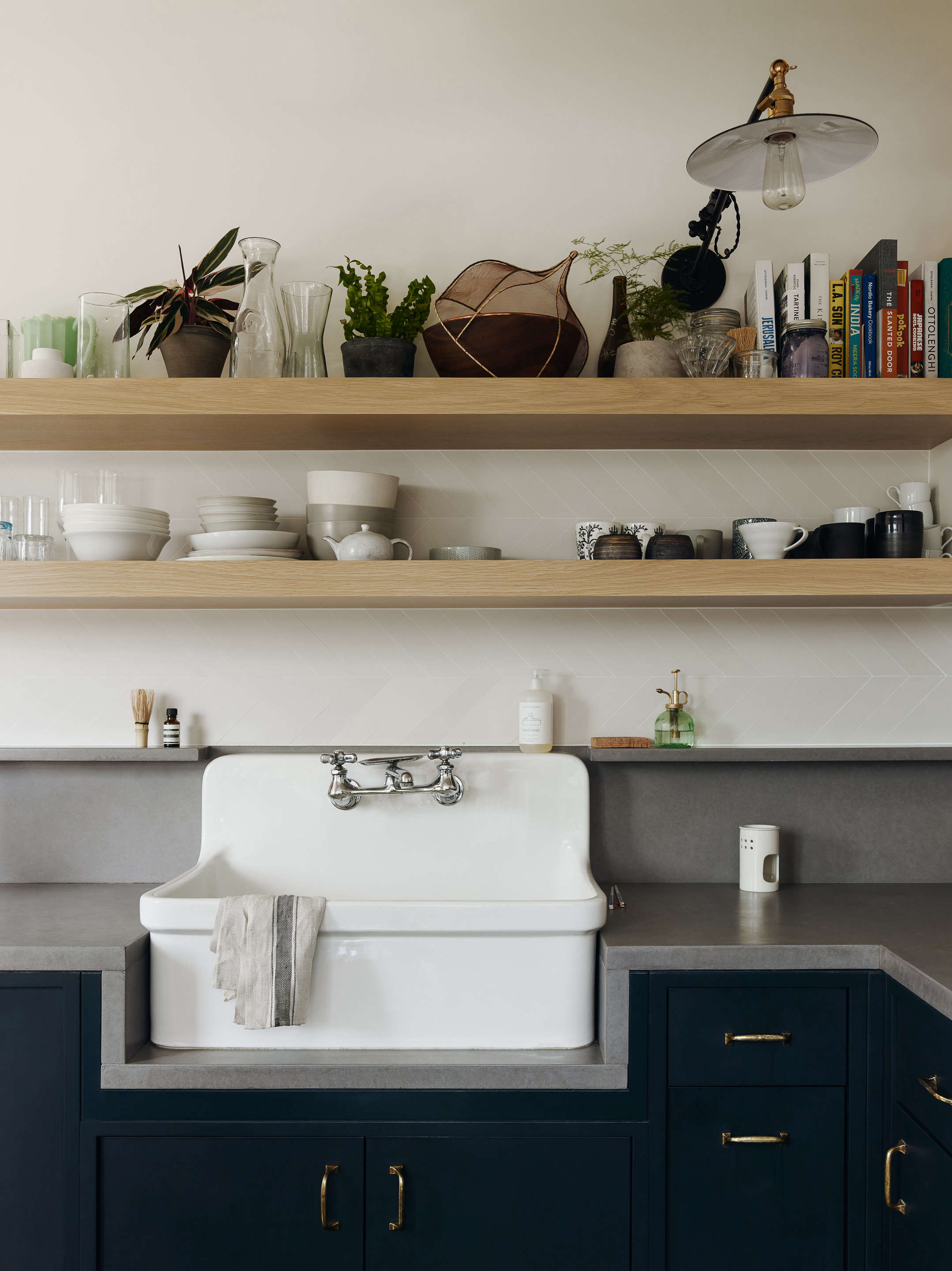 kitchen with blue cabinets white farmhouse sink general assembly
