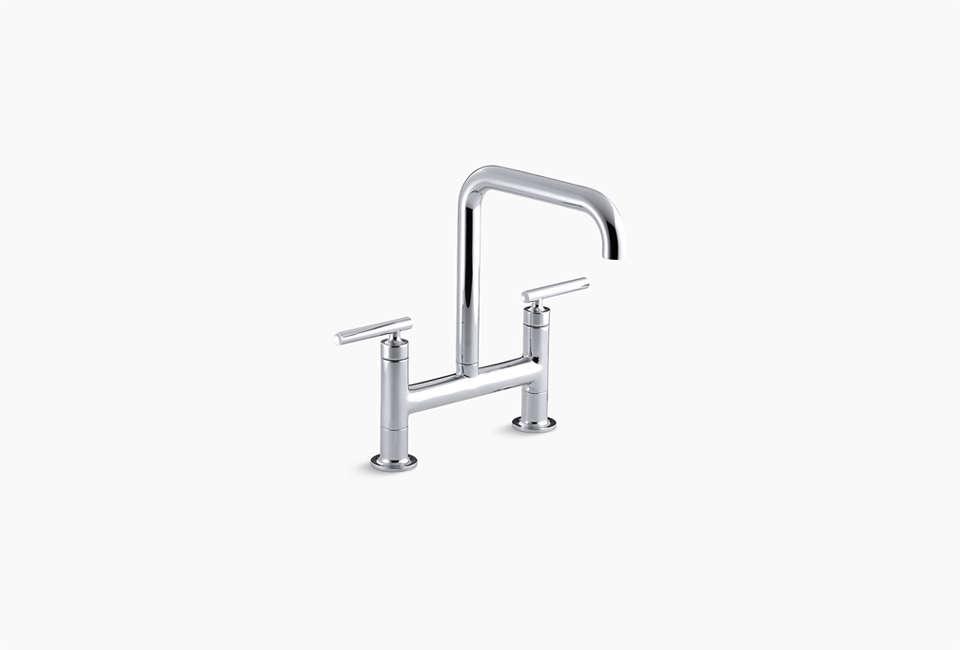 Kohler Purist Two Hole Deck-Mount Bridge Kitchen Sink Faucet