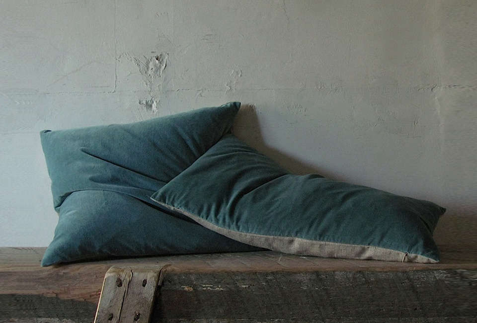 Steal This Look A Country House with Selective Color Kristen Hecktermann Idle Blue Velvet Pillows