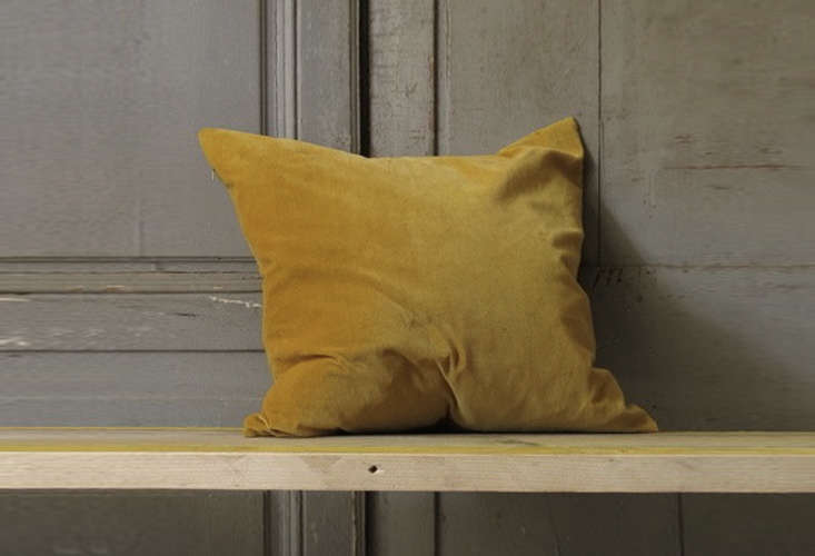 Steal This Look A Country House with Selective Color Kristen Hecktermann Saffron Yellow Velvet Pillow