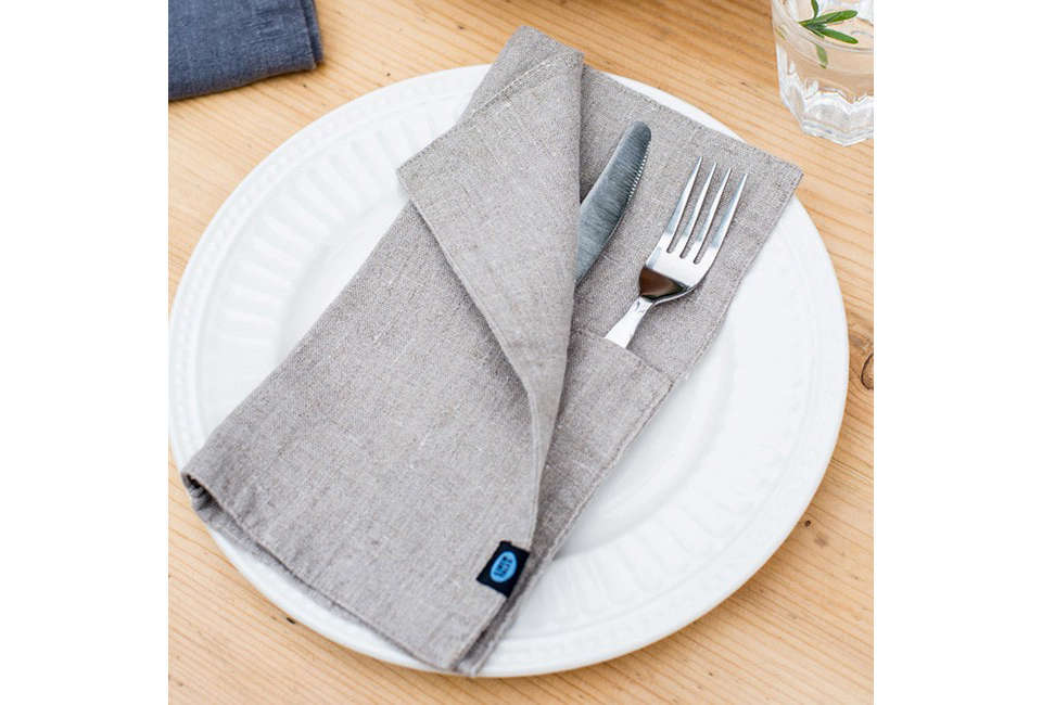 A set of two Washed Linen Cutlery Pockets from Linen Tales is €.80 (about $).