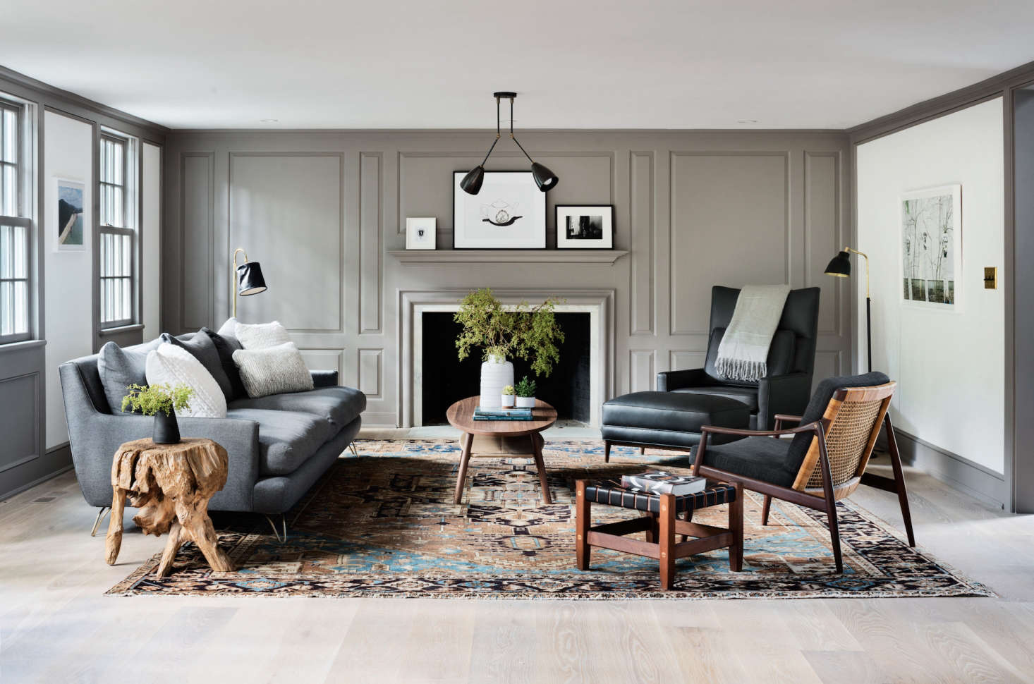 living-room-in-modern-farmhouse-renovation-gray-millwork-walls