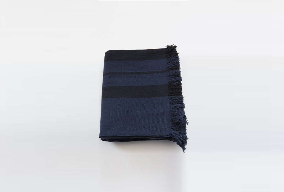 Steal This Look A Rustic Farmhouse Living Room in Upstate New York Lost & Found Khadi Indigo Black Blanket