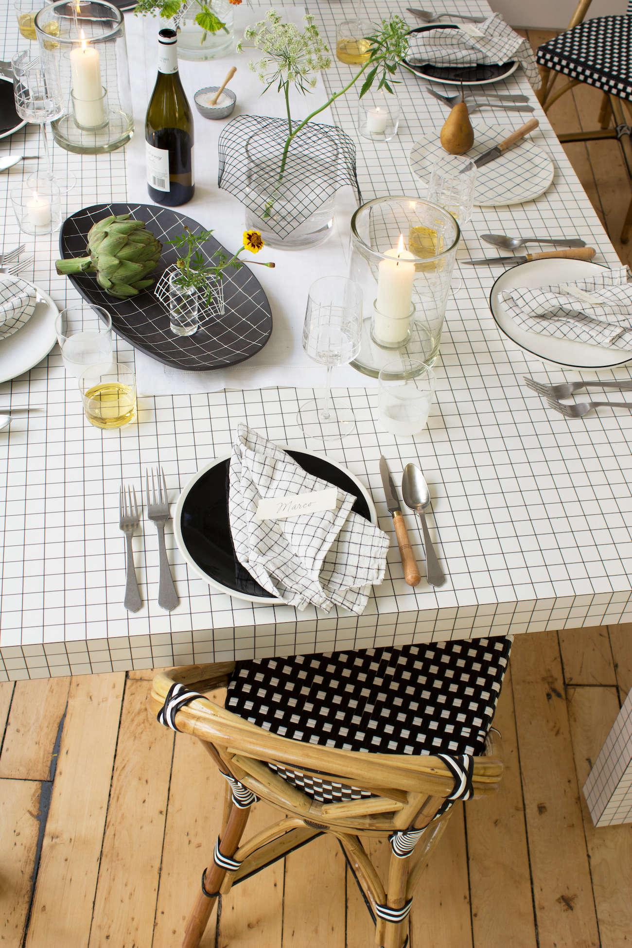modern thanksgiving table setting david stark grids black white 11