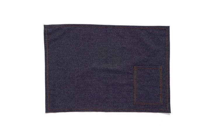 Crisp cotton Denim Placemats with stitched cutlery pockets are currently on sale for $