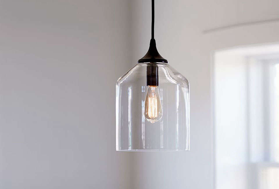 Steal This Look A Country House with Selective Color Pottery Barn City Glass Pendant