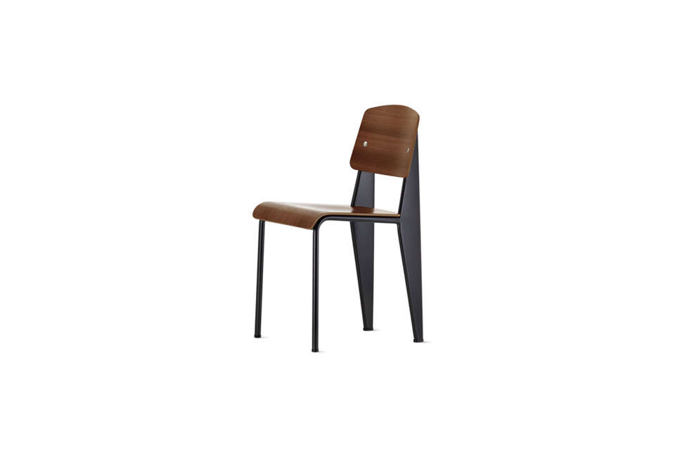 Jean Prouve Standard Dining Chair in Dark Wood