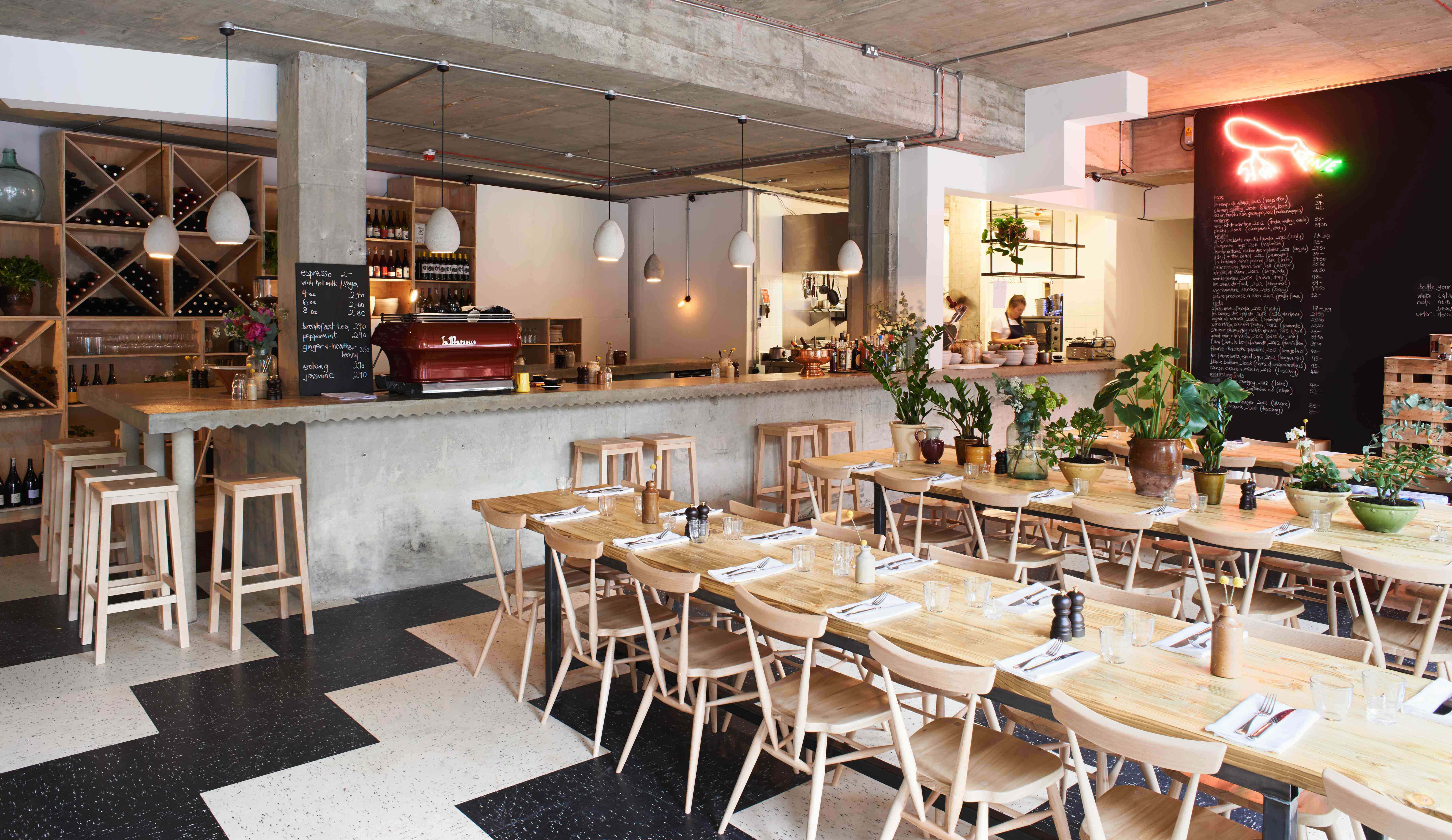 Restaurant Visit Communal Tables and Biodynamic Wines at Rawduck in Hackney raw duck london interior overview
