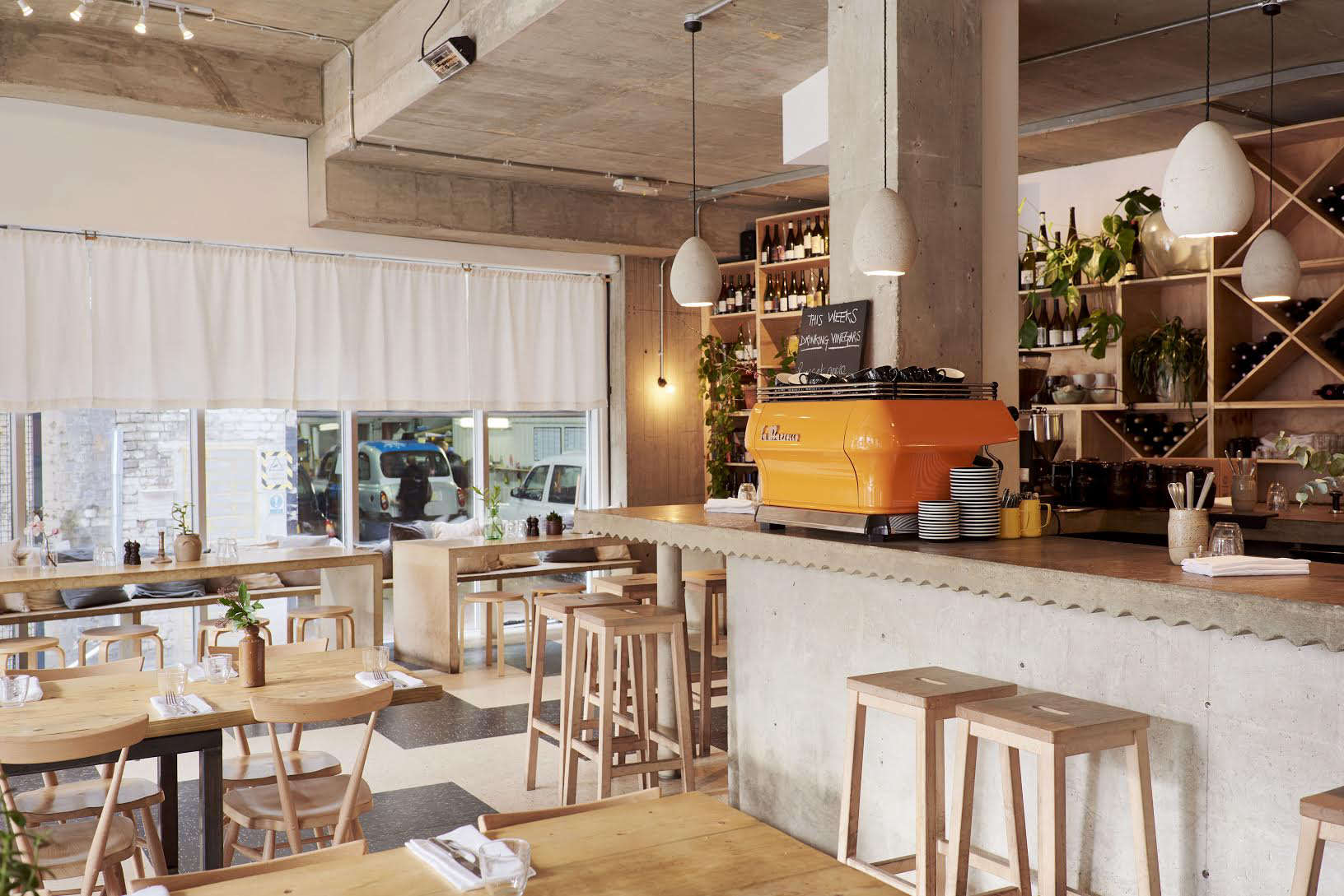 Restaurant Visit Communal Tables and Biodynamic Wines at Rawduck in Hackney raw duck london interior