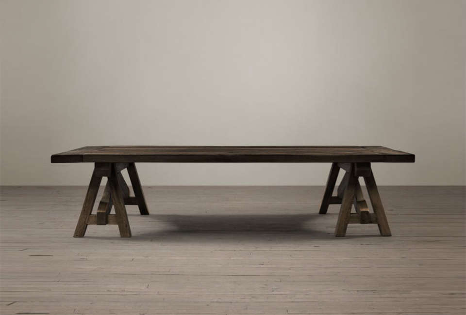 Steal This Look A Rustic Farmhouse Living Room in Upstate New York Restoration Hardware Benson Sawhorse Coffee Table