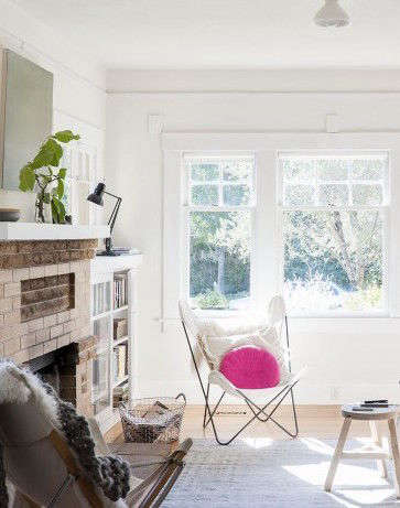 Sarah Lonsdale living room with pink cushion