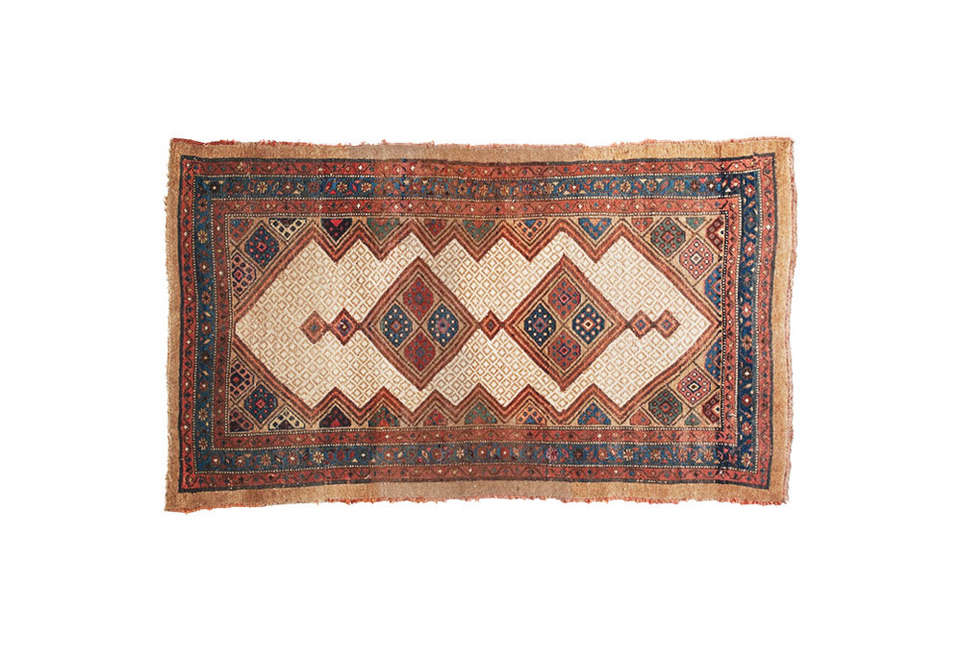 Steal This Look A Rustic Farmhouse Living Room in Upstate New York Sharktooth Antique Kurdish Rug