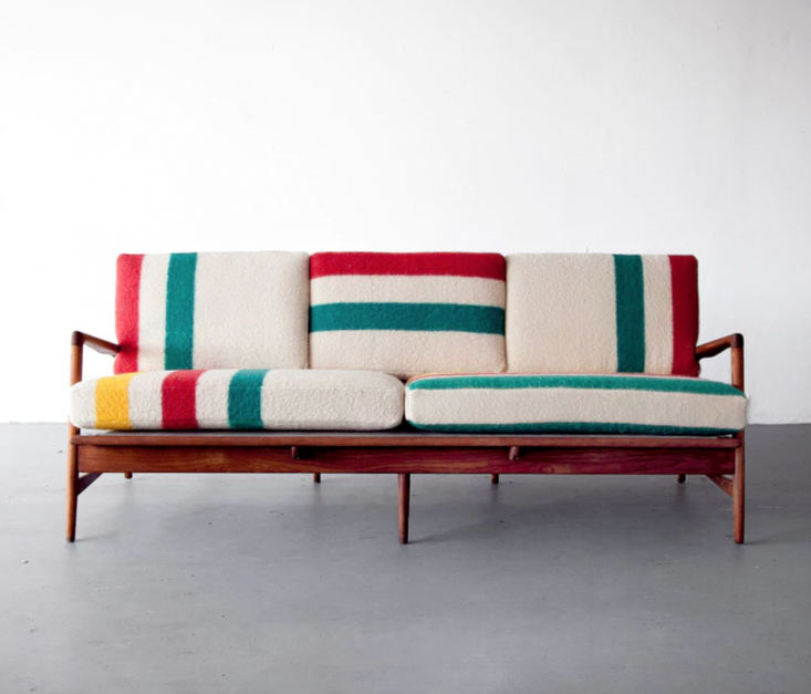 Object Lessons The Hudsons Bay Point Blanket Hudson&#8\2\17;s Bay blankets are often repurposed for cushions, curtains, and clothing, like this Hudson Bay Sofa, available for \$4,\200 fromSit &Read.
