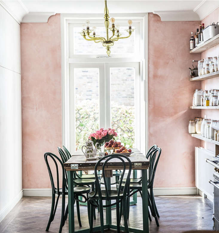 the oft instagrammed uk kitchen of a food blogger features pink plaster walls 9