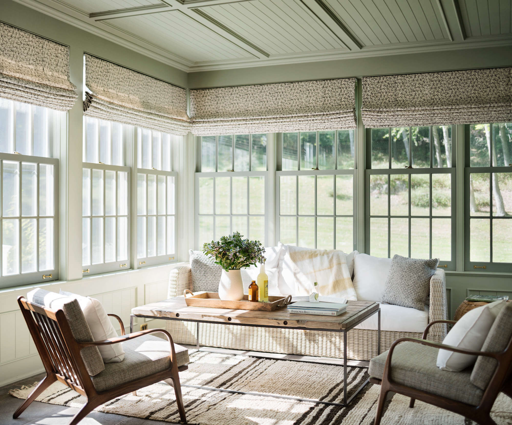 sunroom-in-modern-traditional-farmhouse-renovation-green-painted-ceiling