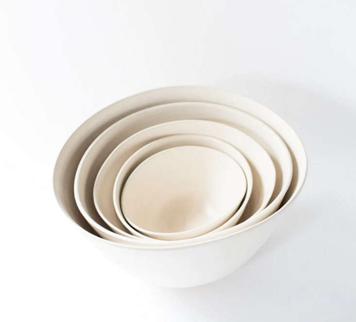 Sylvia Stacking Folding Bowls in Matte White by Eric Bonnin
