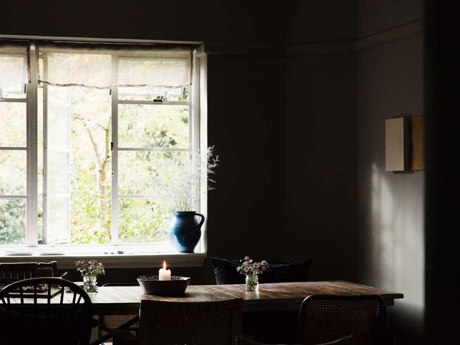 dark green dining room