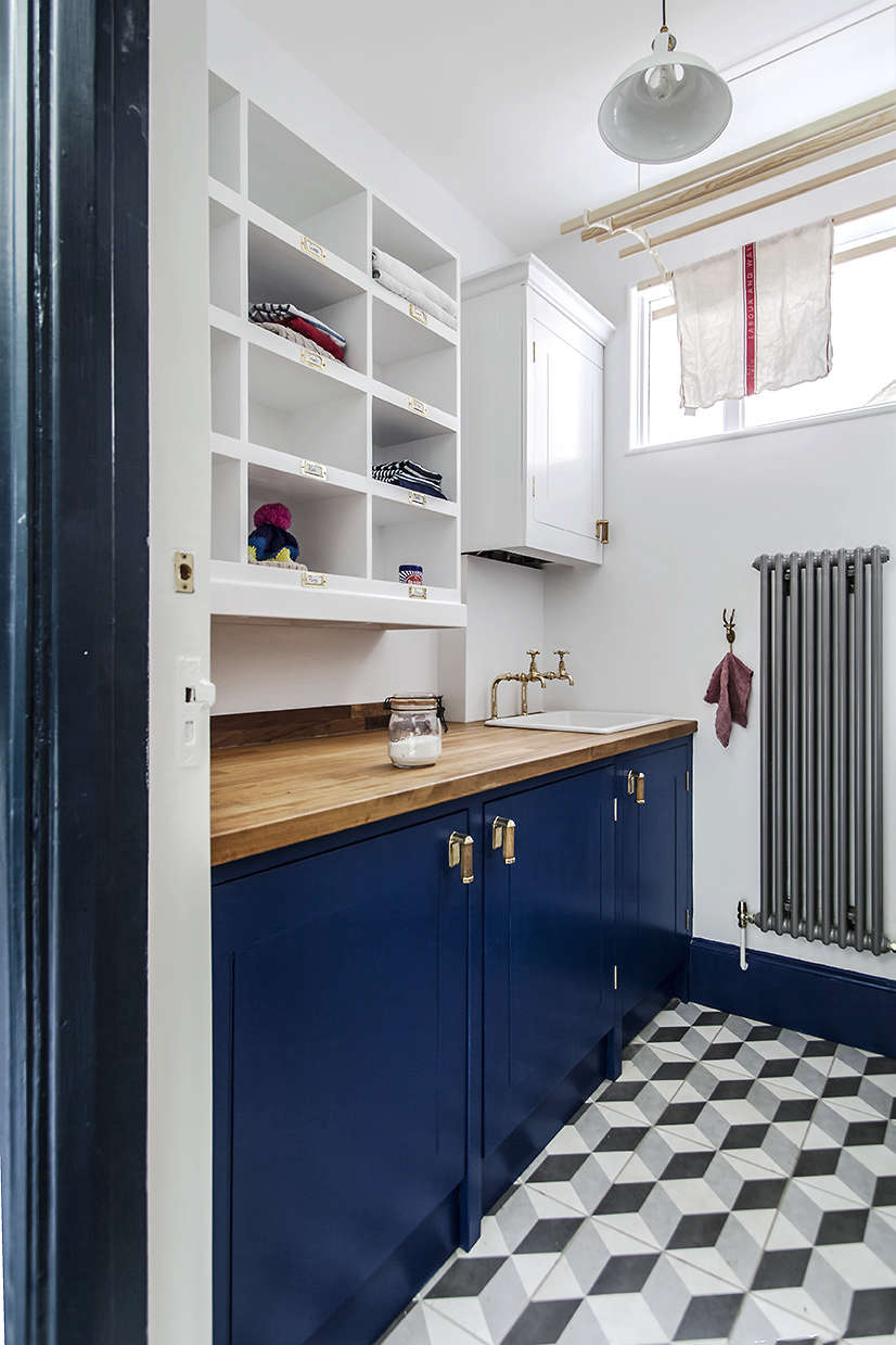 British Standard blue cupboards in a London utility room