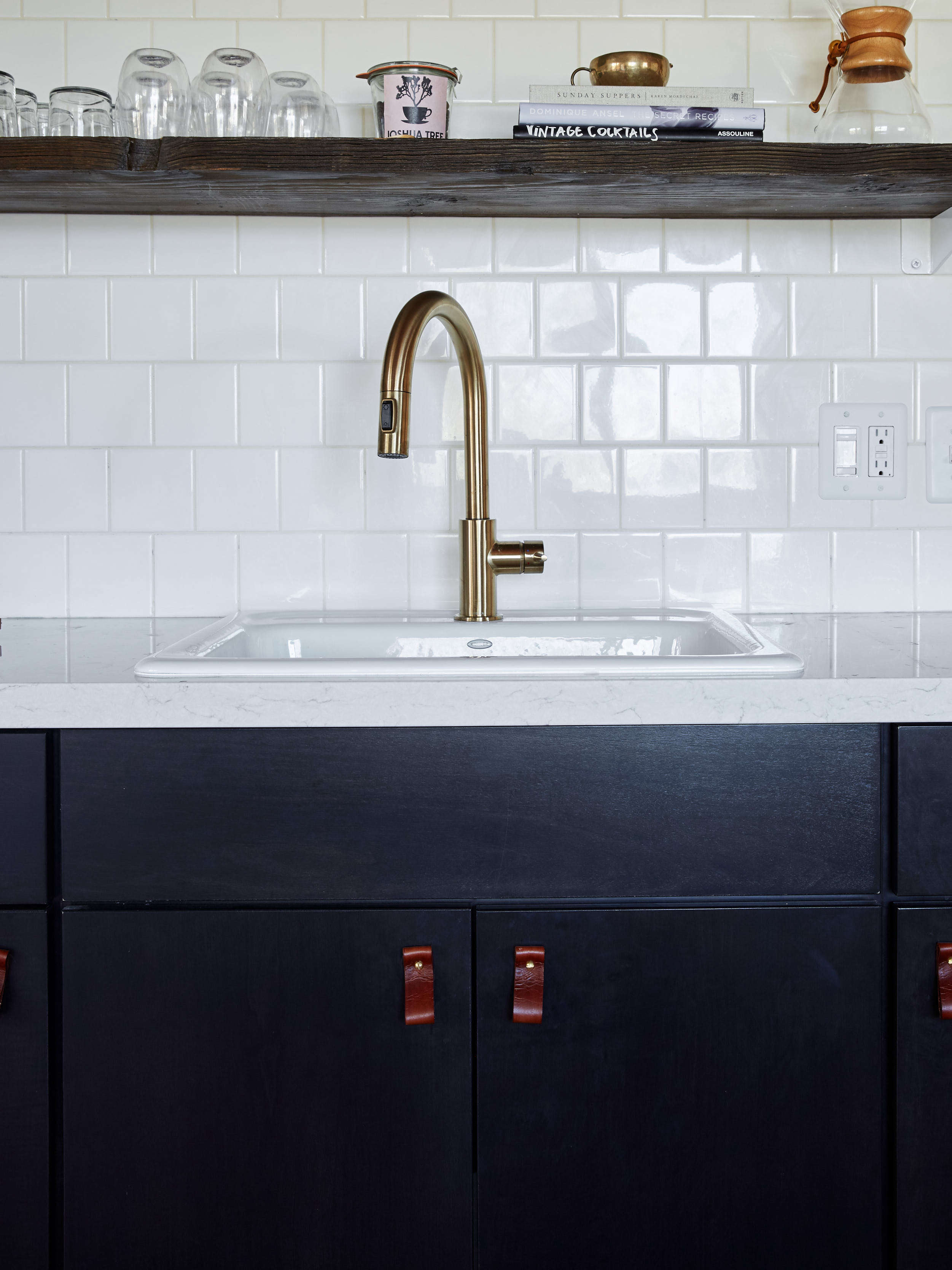 joshua tree casita airbnb black kitchen cabinets from home depot with DIY leather cabinet pulls, kate sears photo