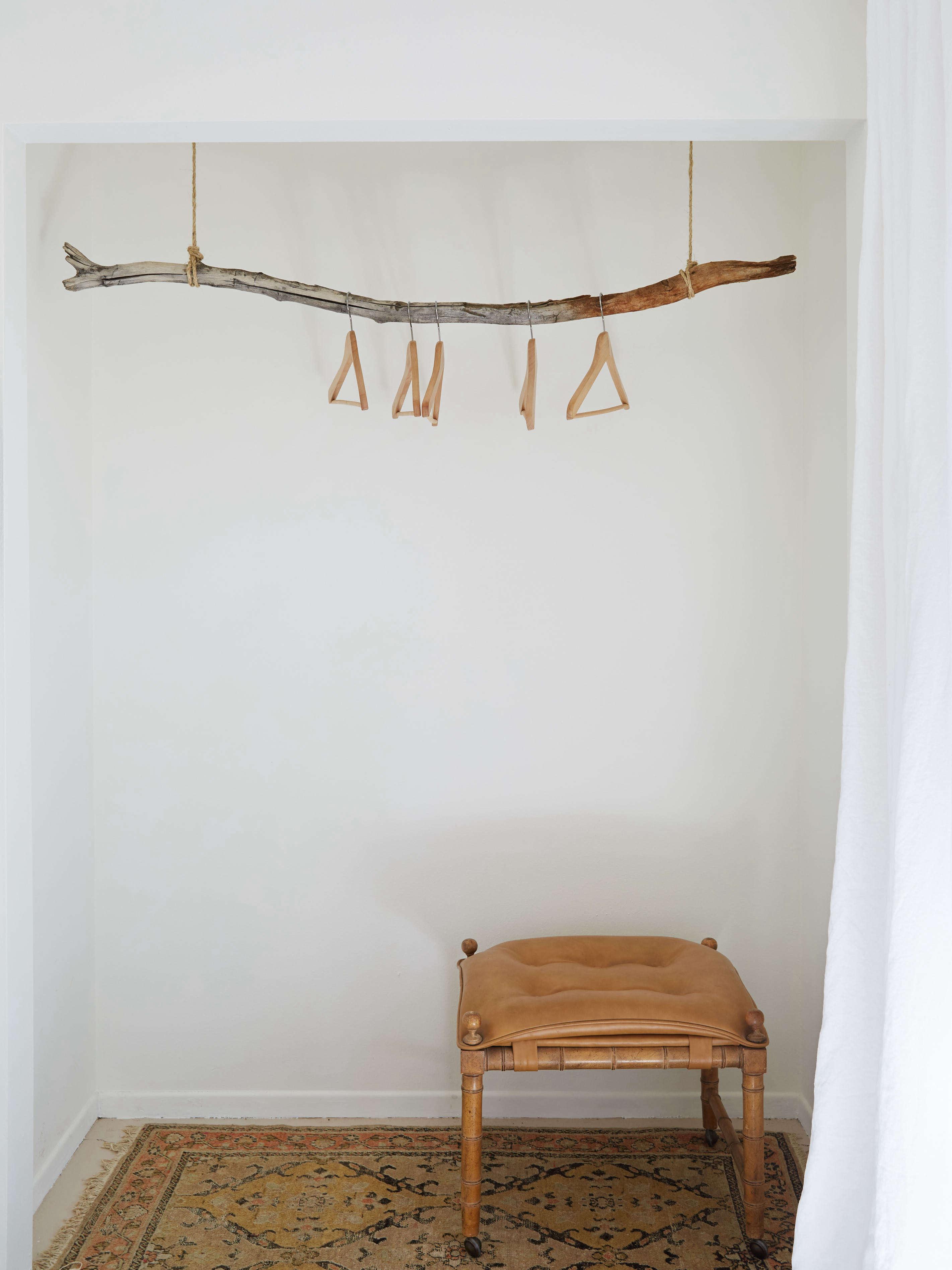 DIY closet made from a hanging branch at the Joshua Tree Casita Air Bnb, Kate Sears photo