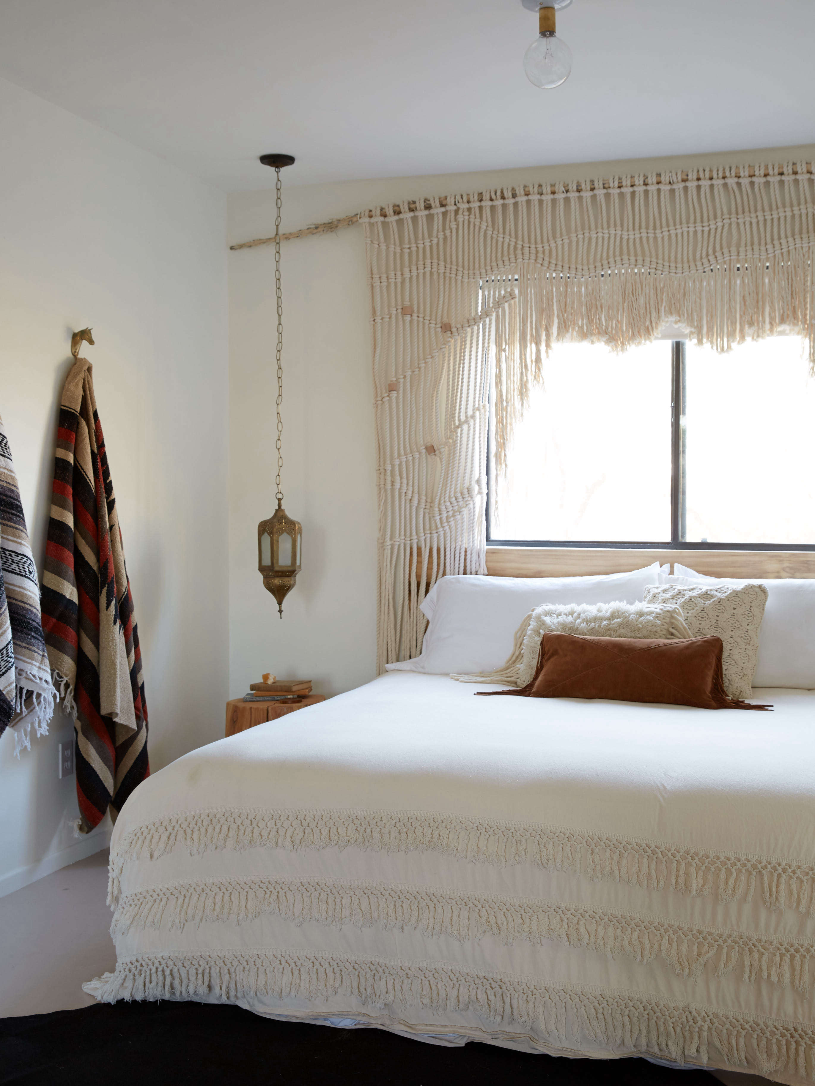 Macrame window curtain/window frame at the Joshua Tree Casita, an Airbnb, Kate Sears photo