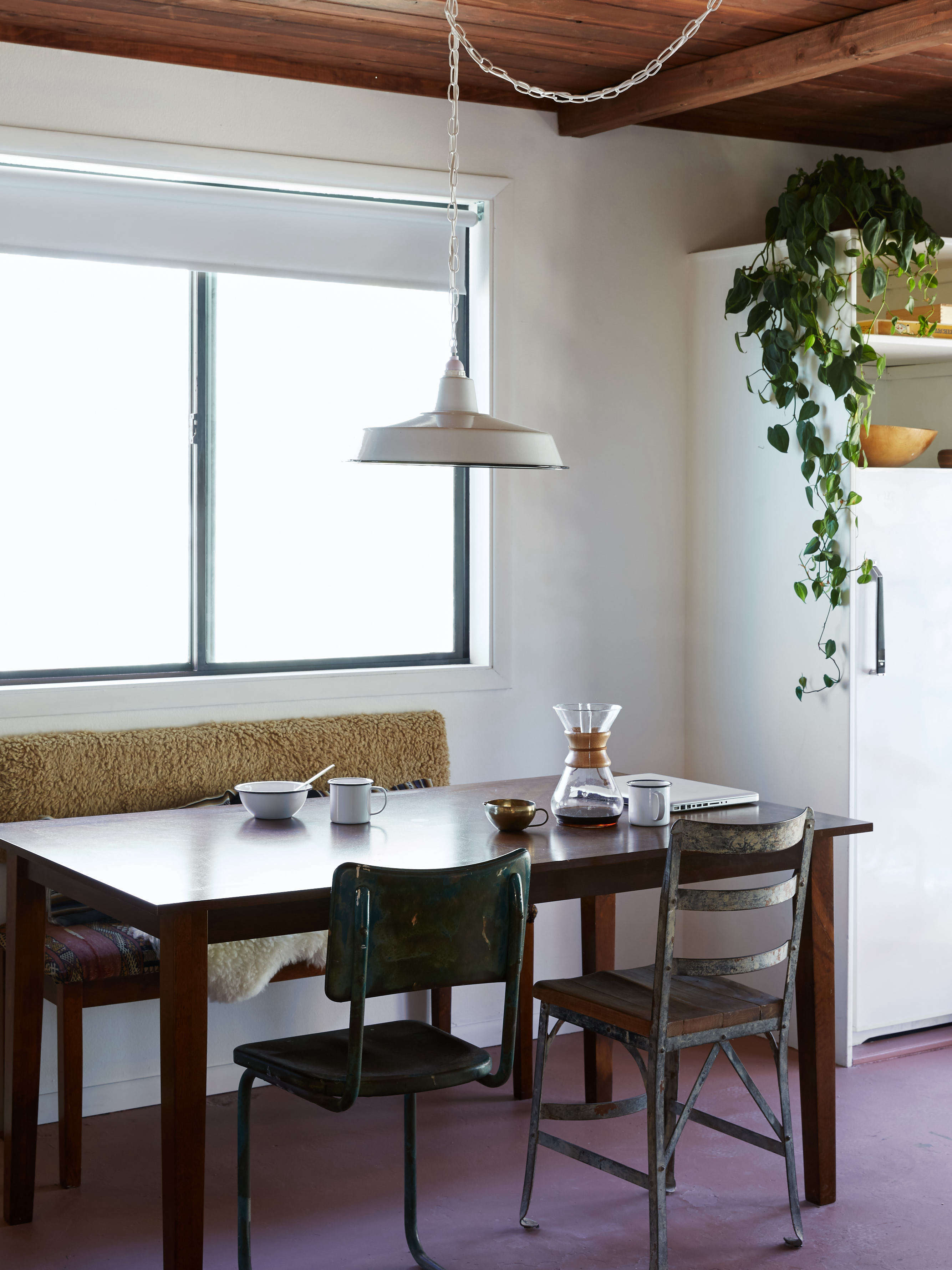 joshua tree casita vintage dining furnishings and porcelain factory light, kate sears photo