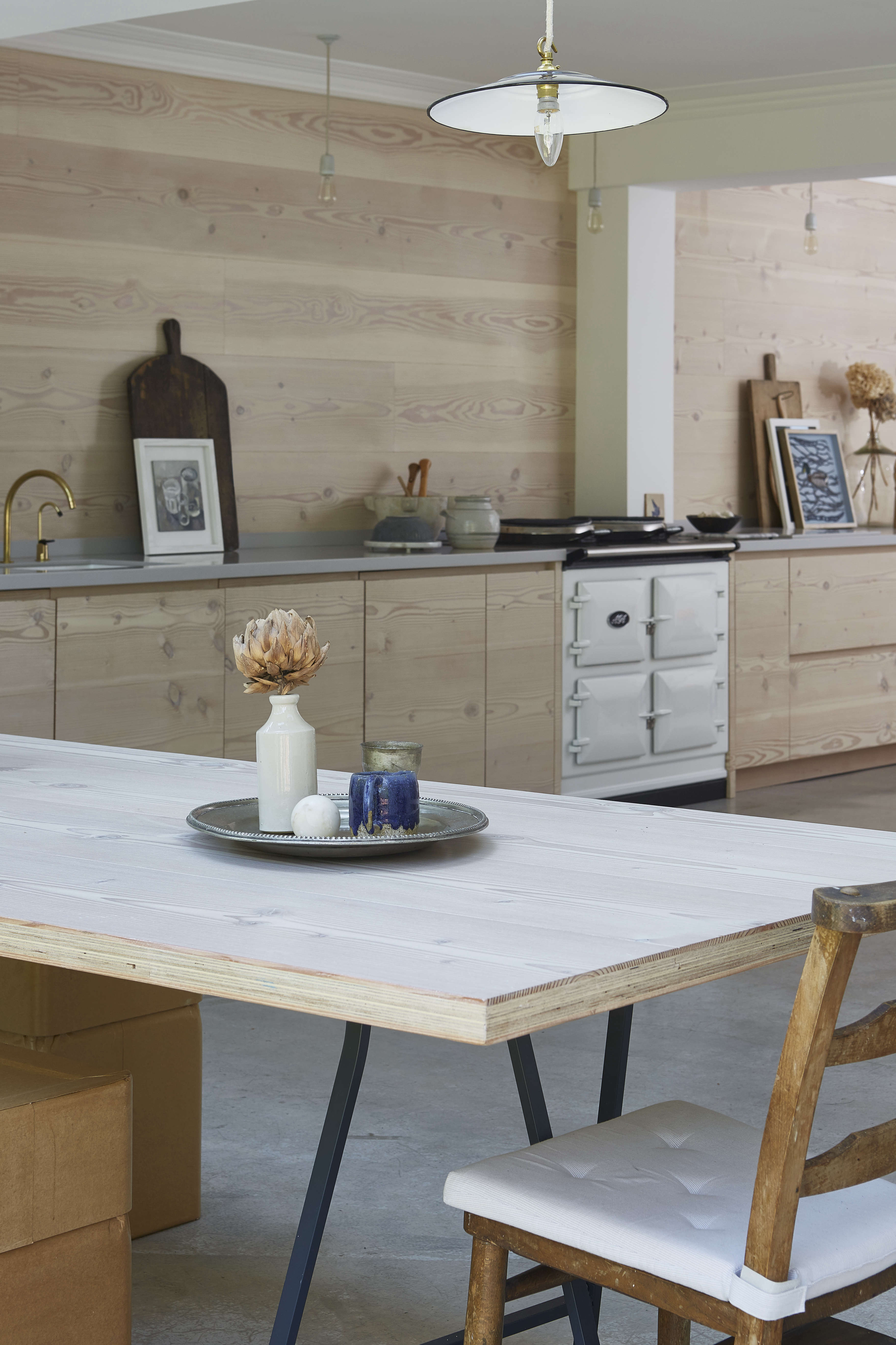 dougls fir cabinets, wall paneling, and table in a scandinavian style kitchen i 18