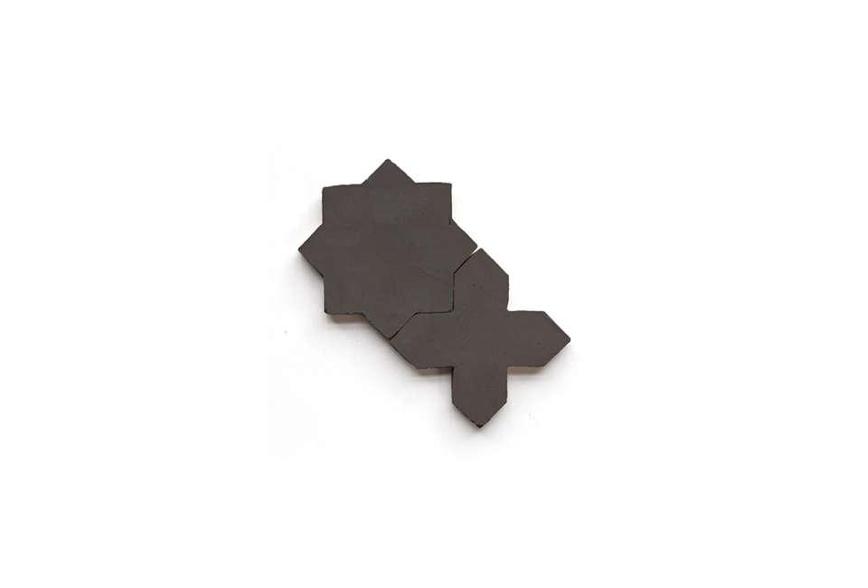 Clé Tile Belgian Black Terracotta Star and Cross Tile