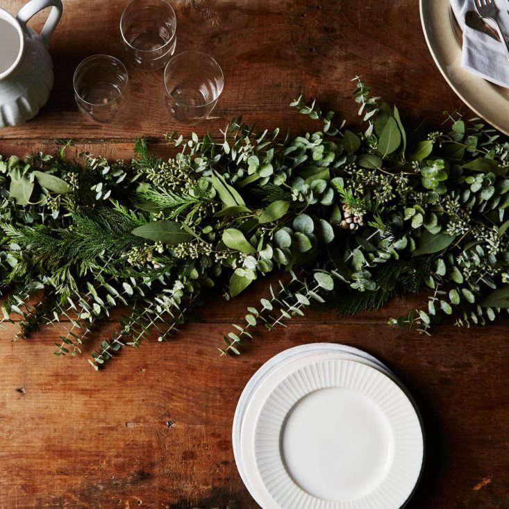 Food52 Tabletop Runner Holiday Fresh Evergreens