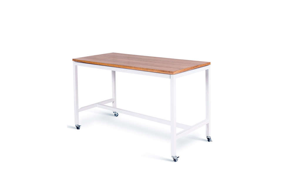 The Modern Tall Bar/Kitchen Dining Table on Wheels is £979 (about $loading=