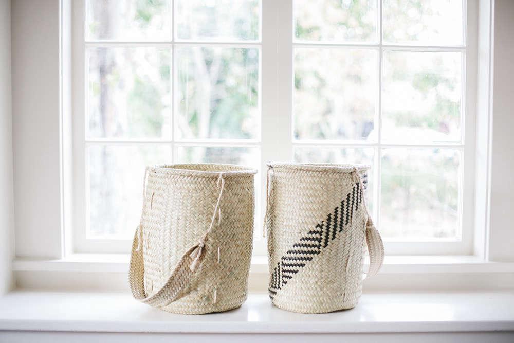 non perishable goods woven palm basket medium