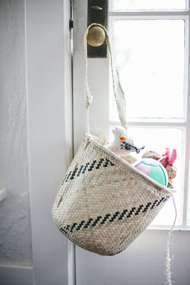 non perishable goods woven palm basket small filled