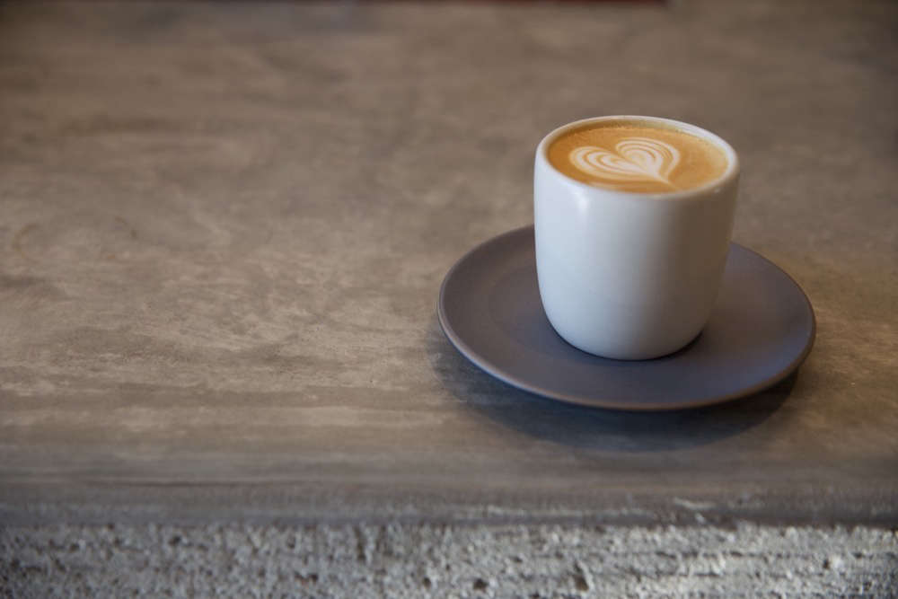 Coffee on Concrete Counter at Paramount Coffee Project in LA