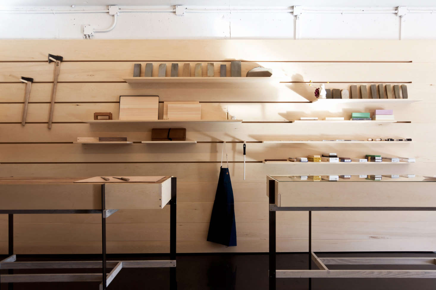 Display Wall in Ai and Om Knife Shop by Scott and Scott Architects