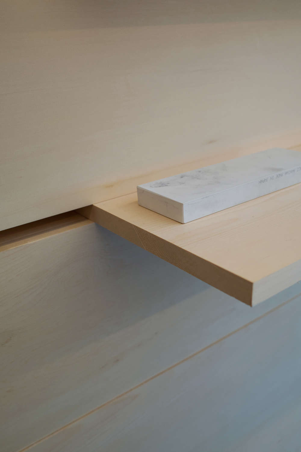 Shelf Detail in Ai and Om Knife Shop by Scott and Scott Architects