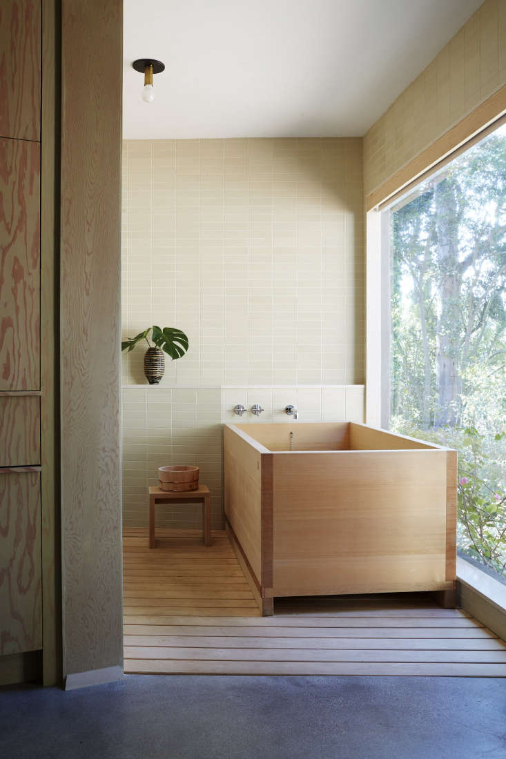A hinoki wood bathtub in the Rudolph Schindler–designed Hollywood Hills home of designer Pamela Shamshiri.Photograph courtesy of Rizzoli from the book, The Perfect Bathby Barbara Sallick.See more of the house and landscape on Gardenista inGarden Visit: At Home with LA Designer Pamela Shamshiri in the Hollywood Hills.