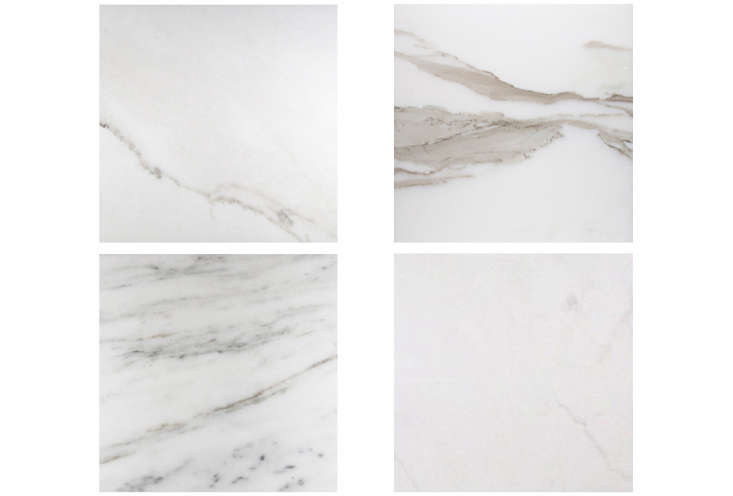 A selection of white marble slabs (clockwise from top left: Bianco Oro, Calacatta Vision, Imperial Danby, and Bianco Dolomiti) from Stone Source, as seen in Remodeling loading=