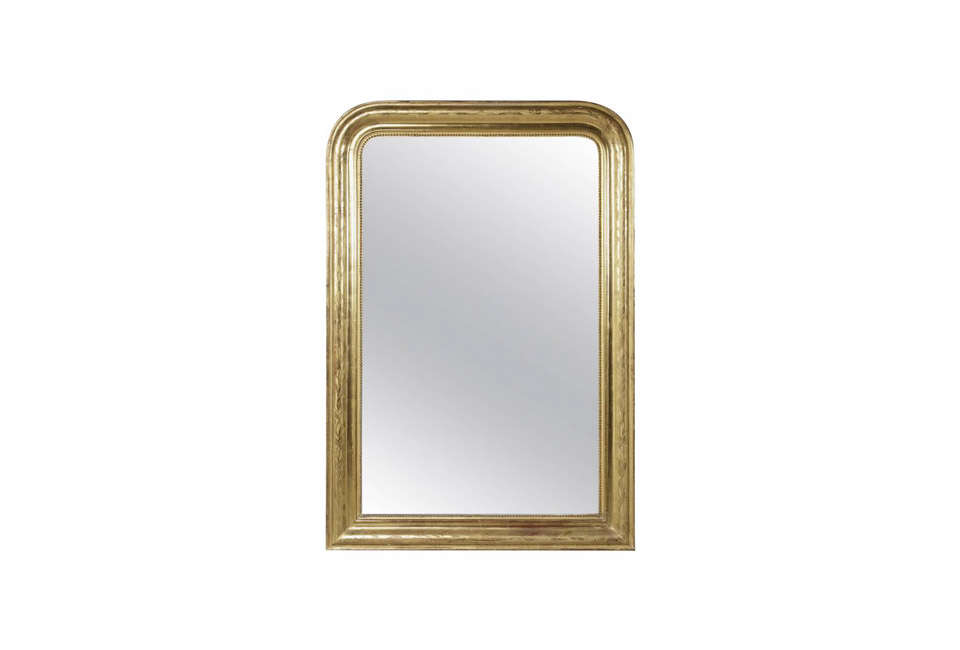 Steal This Look A Farmhouse Bedroom with Modern Furniture 19th Century Louis Philippe Giltwood Mirror