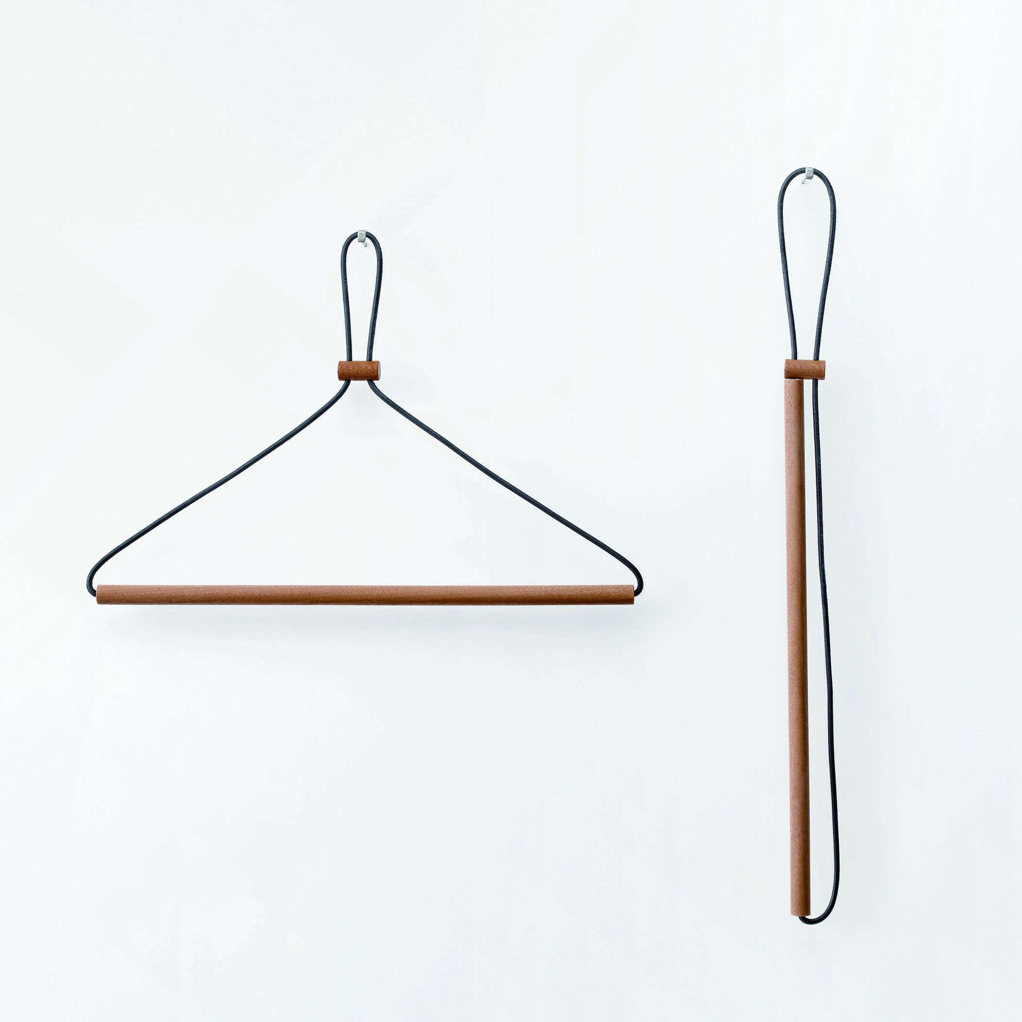 japanese wood leather folding travel hanger 11
