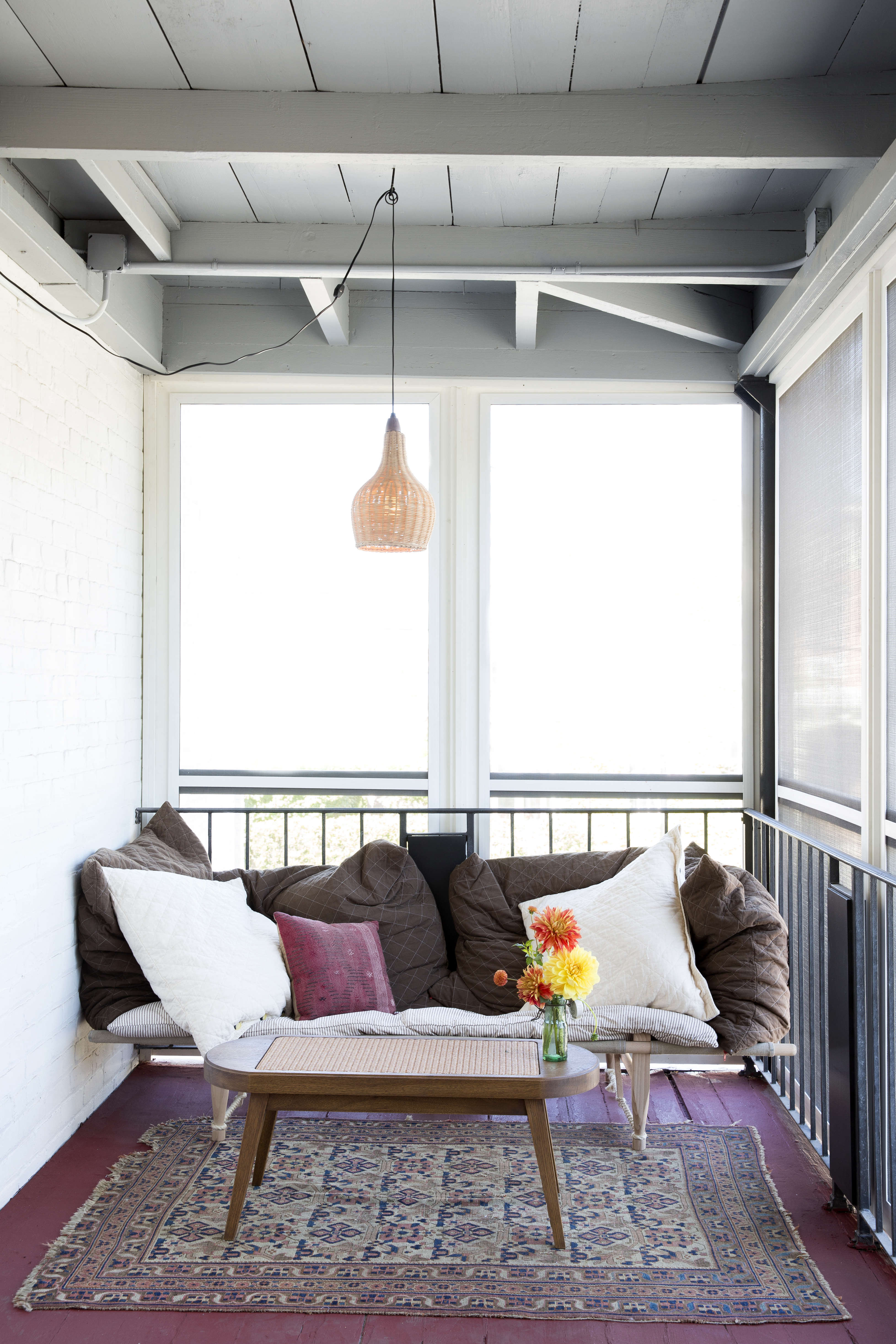 Expert Advice 9 HardWearing Natural Material Recommendations from a Hotelier Rivertown Lodge  Front Porch wicker Emma Tuccillo photo