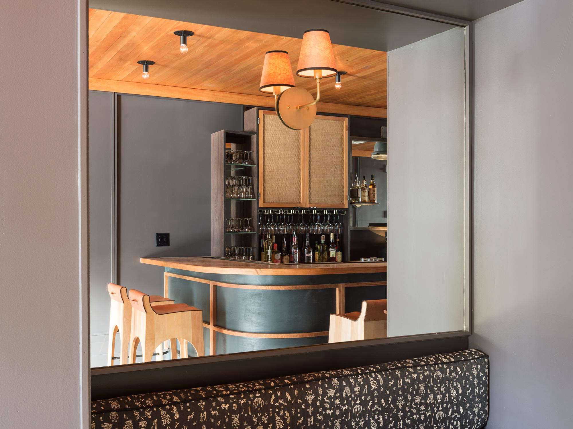 Expert Advice 9 HardWearing Natural Material Recommendations from a Hotelier Rivertown Tavern at the Rivertown Lodge in Hudson, NY with bronze bar. Workstead design Matthew Williams photo